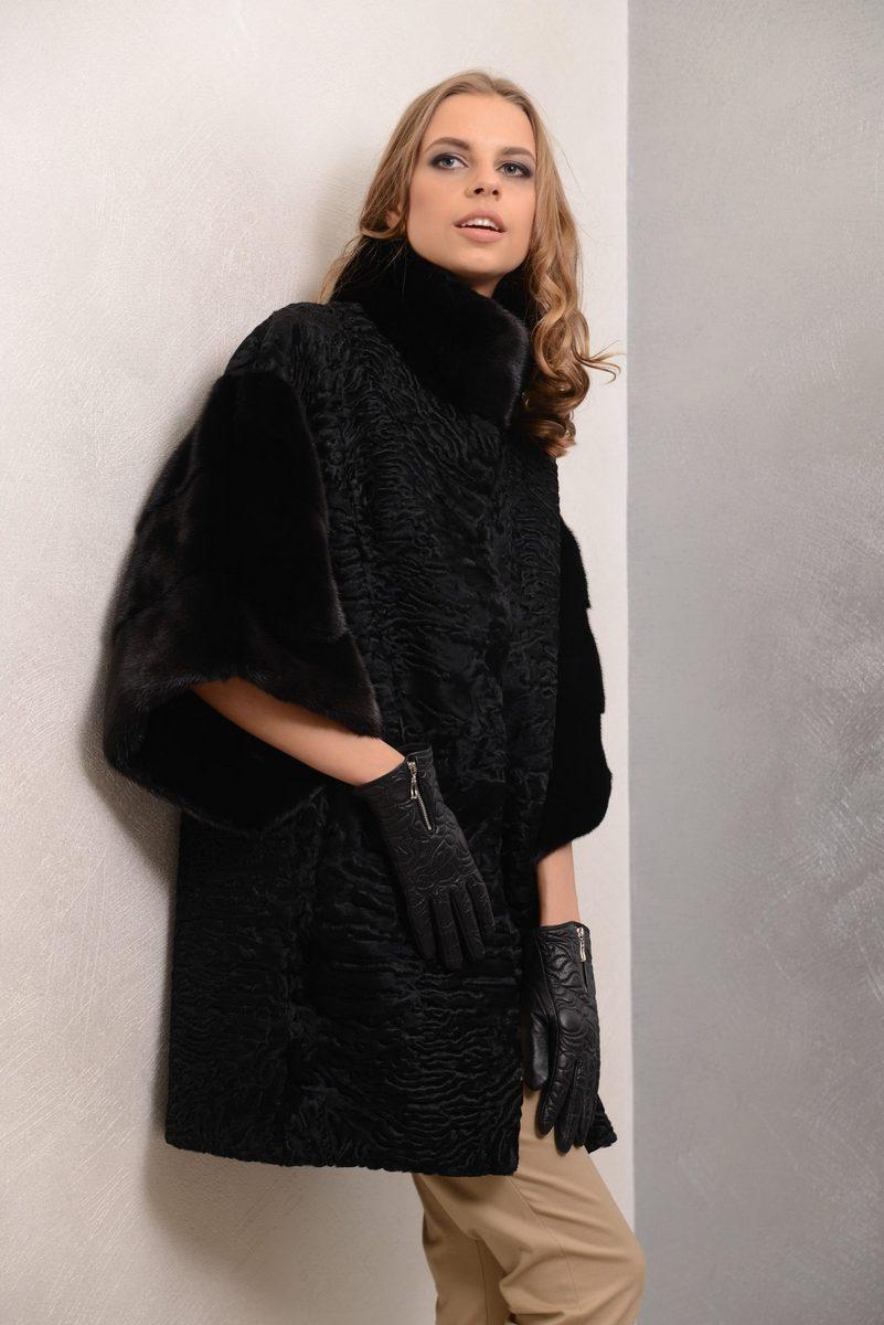 Buy Women black fur coat mink astrakhan