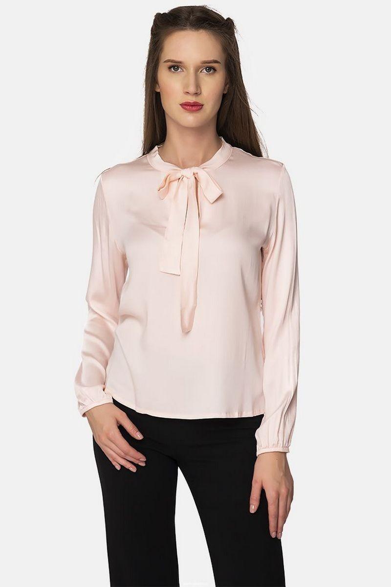 Buy Office Business Pink Cotton Blouse, Loose Drawstring Long Sleeve Designer Blouse