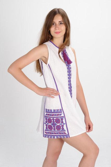Buy Women's mini dress embroidered in the Ukrainian style, boho hippie, folk