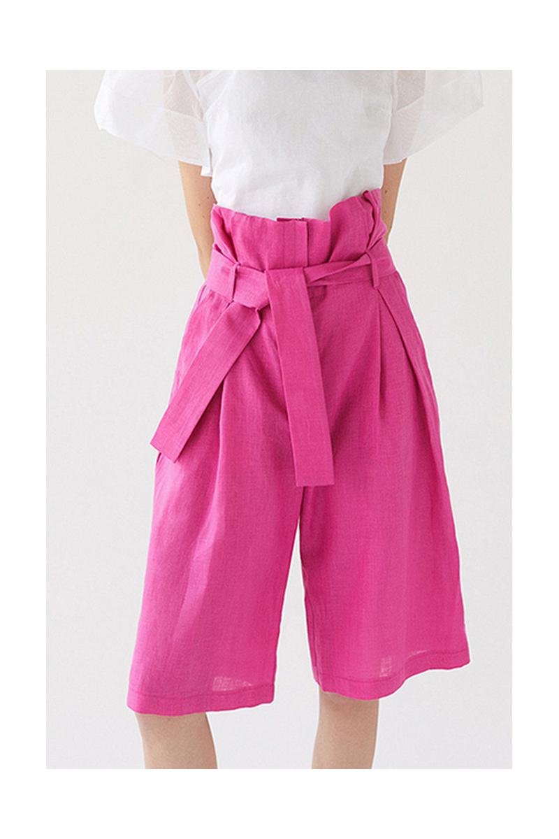 Buy Women Summer Linen Shorts Fuchsia Casual Shorts Summer Comfy Short with Pockets