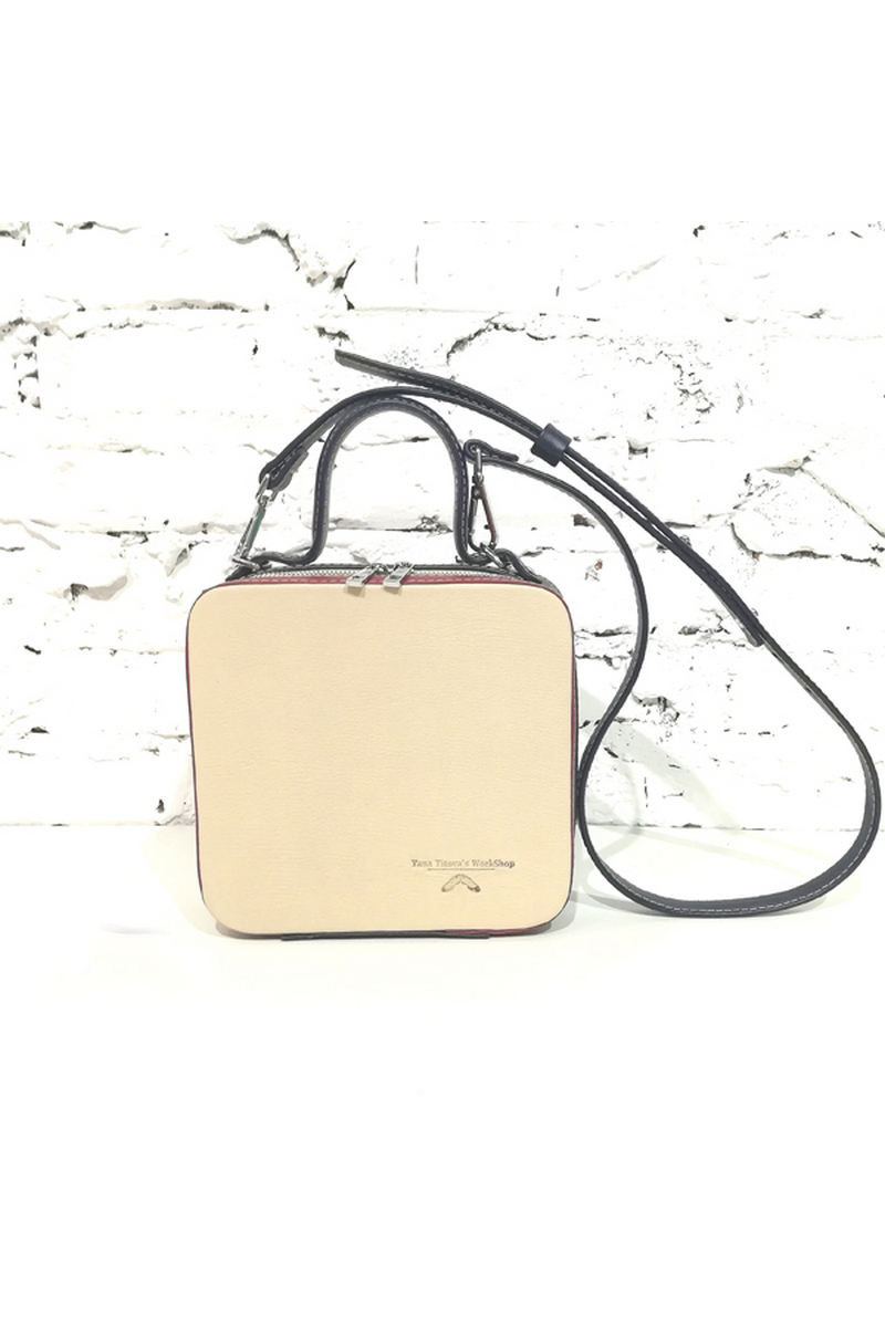 Buy Rigid square leather beige design metal zipper handbag, Stylish shoulderbag for women