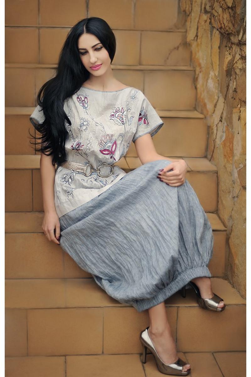 Buy Linen women`s embroidered gray unique designer costume