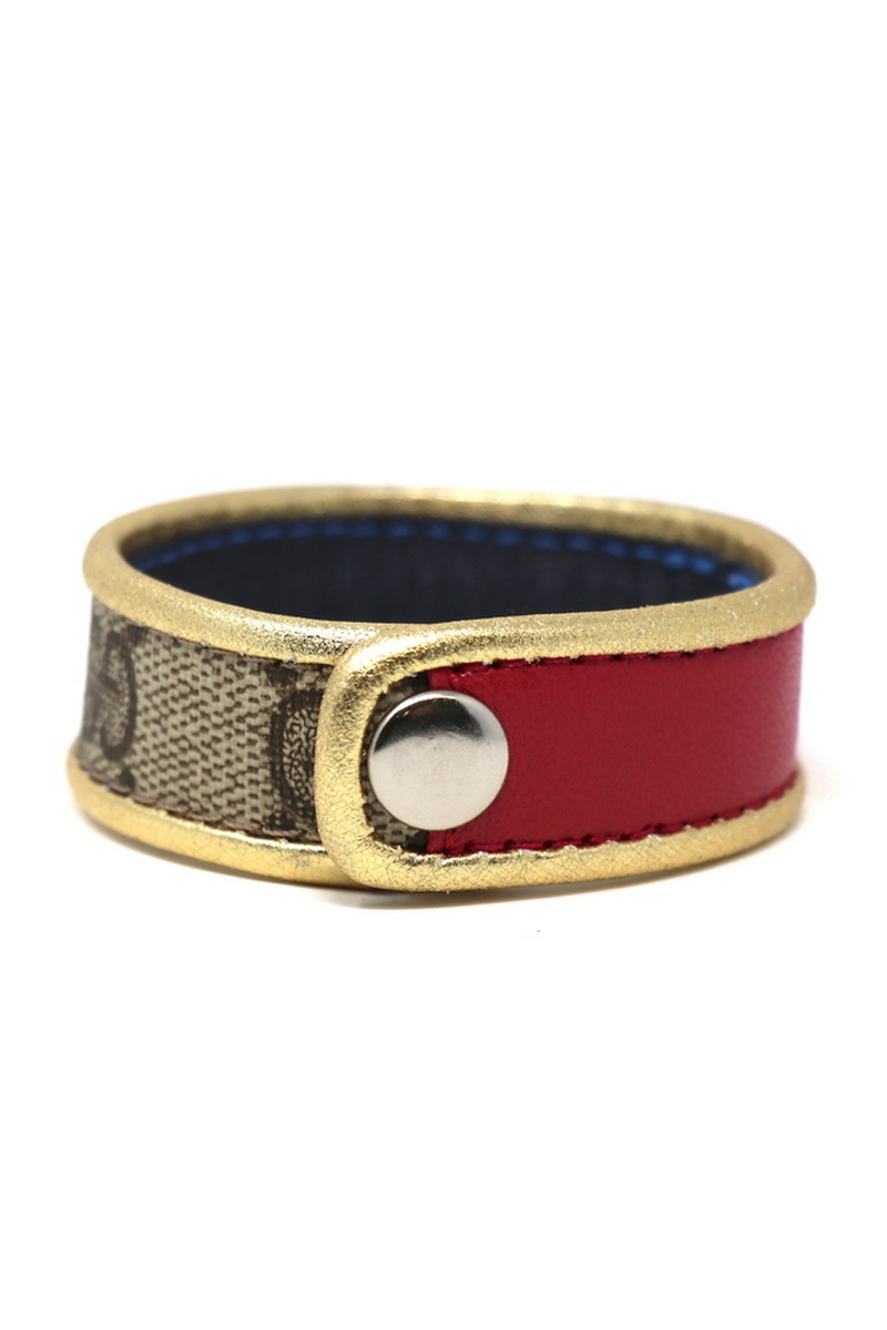 Buy Handmade Single Row Gucci Wristband/Cuff Stitched Magenta Stripe Gold Leather Bordering