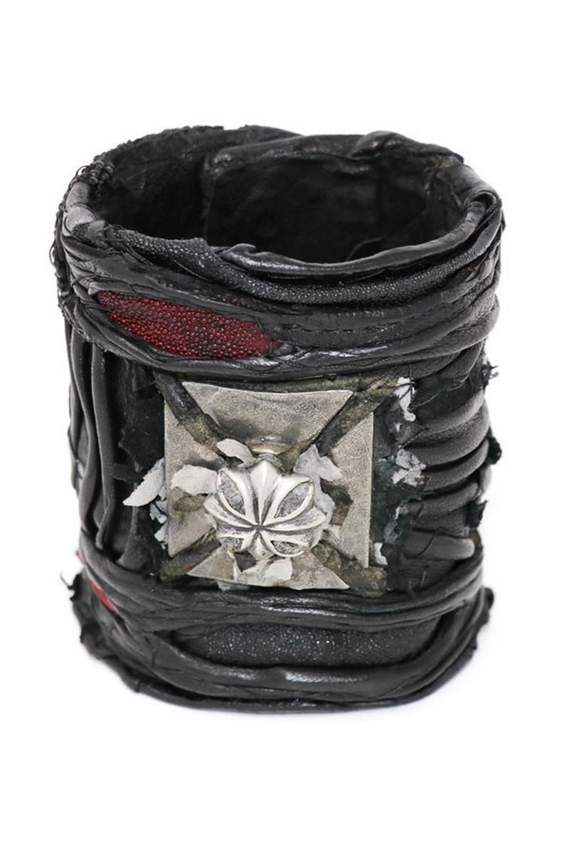 Buy Cross-Strong Double Strap Large Leather Wristband, Rock Punk bracelet, Stylish Rockstar accessories