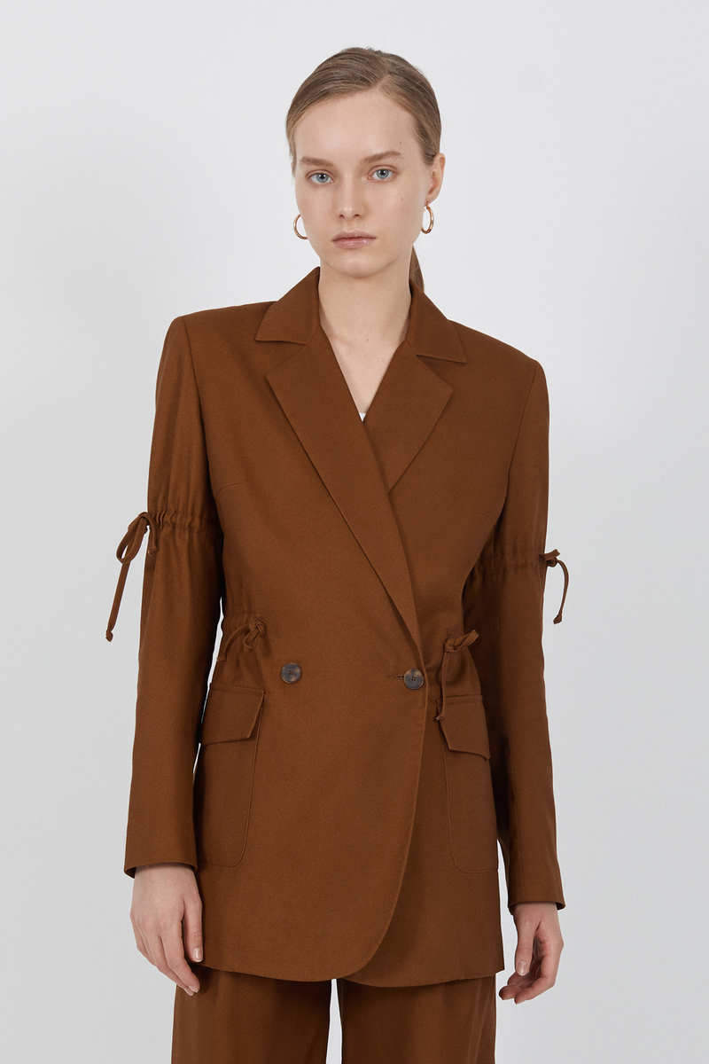 Buy Classic double-breasted brown long jacket, pockets drawstrings buttons lining women jacket