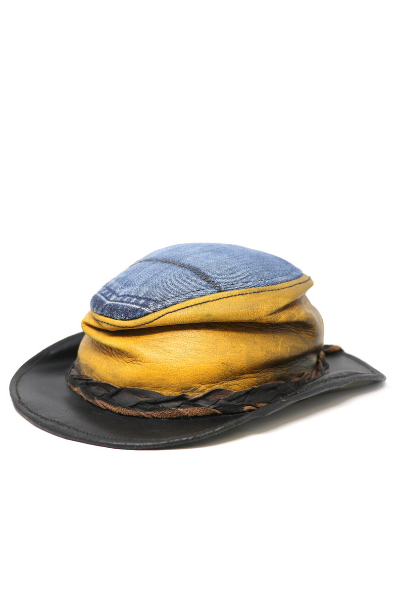 Buy Crumpled Yellow/Denim Outdoor Hat, Handmade Stylish unique designer hat