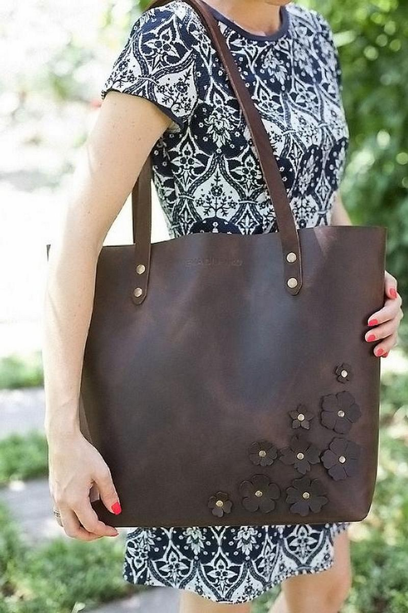 Buy Brown big decor flowers comfortable real leather women's shopper bag