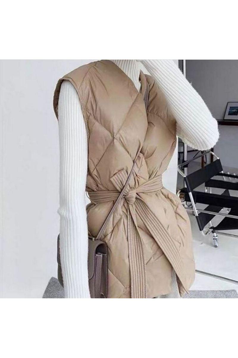 Buy Women's Beige Black Winter Puffer Vest Lightweight Packable Down Vest Quilted Jacket Coat