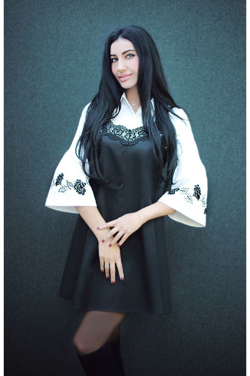 Buy Women`s white black cotton stylish set, Exclusive elegant hand embroidery suit