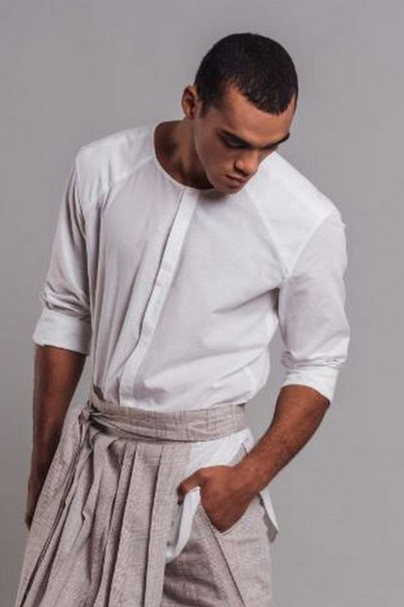 Buy White Cotton Linen Collarless Button-down Men`s Shirt with Sleeves 3/4