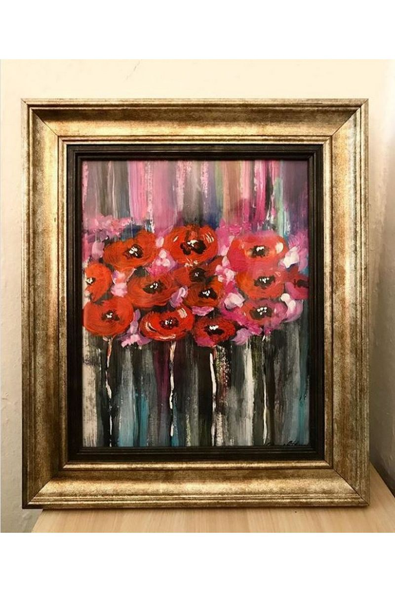 Buy Flower Canvas Wall Art for Home Office Bathroom Decoration Modern Floral Canvas Poppies Artwork Art