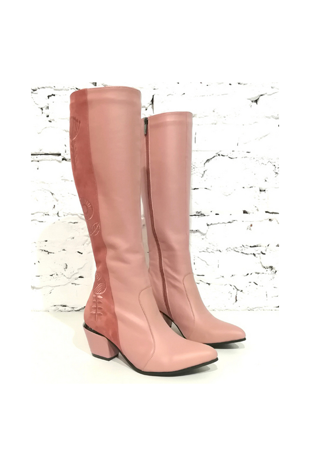 Buy Women's Pink High Leather Zipper Boots with Embroidered Sock Mid Heel, Comfotrable design shoes