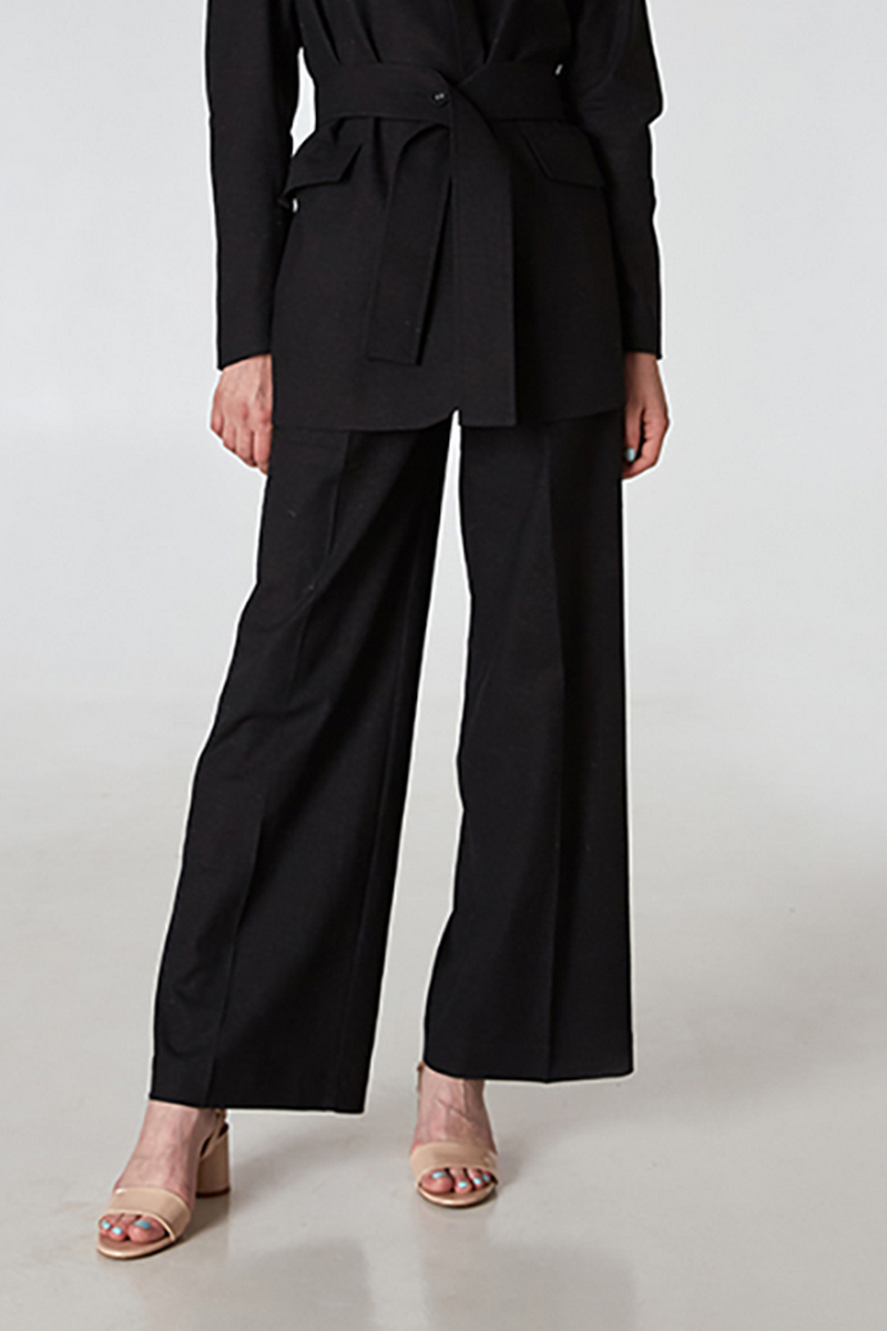 Buy Black high waist straight wide linen women casual trousers
