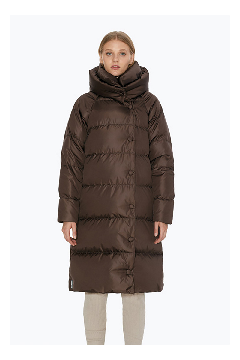 Buy Brown women comfortable medium hood blanket warm winter downcoat