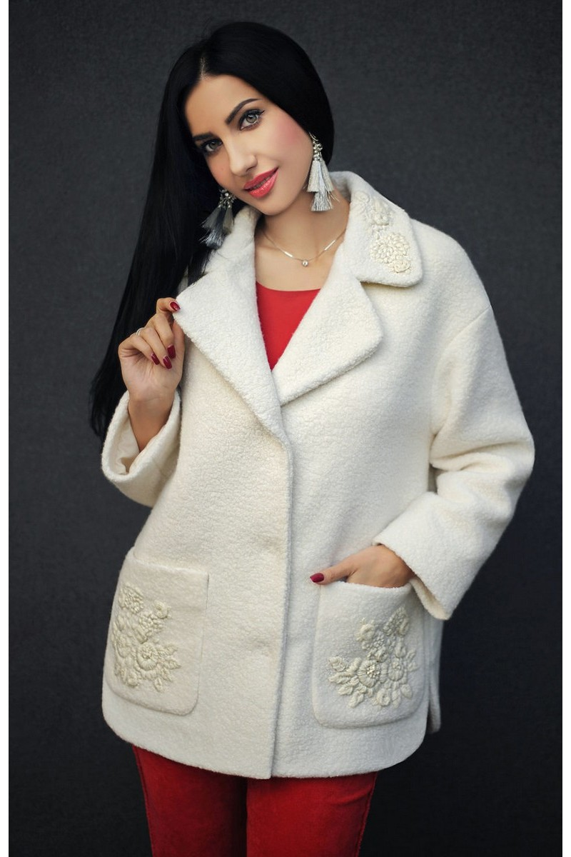 Buy White wool short coat hand embroidery, straight turn-down collar pockets coat