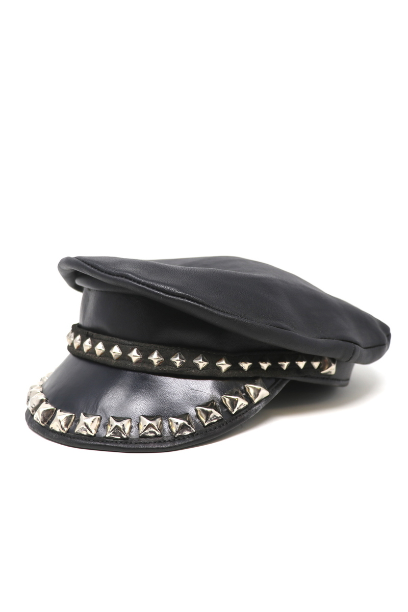 Buy Pyramid Studded Sailors Hat, Black Leather Handmade captain's cap