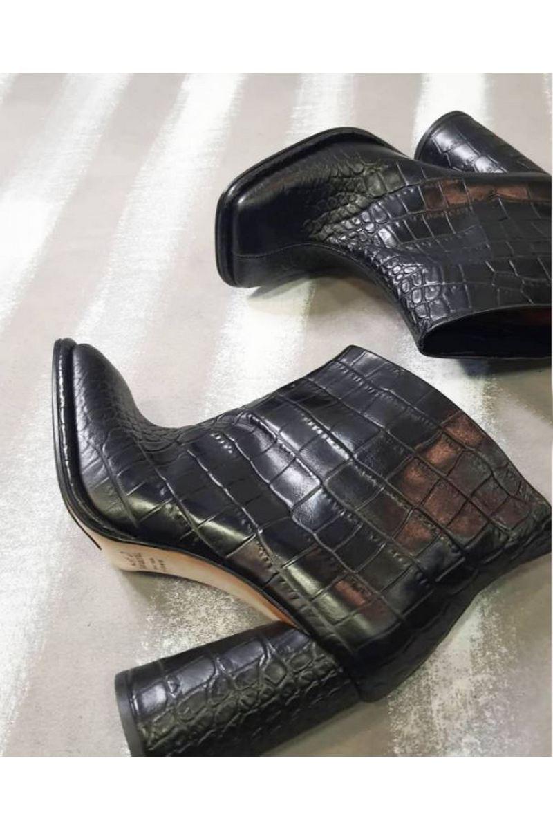 Buy Women Black Leather Square Toe Comfy Heel Ankle Booties Crocodile Embossing