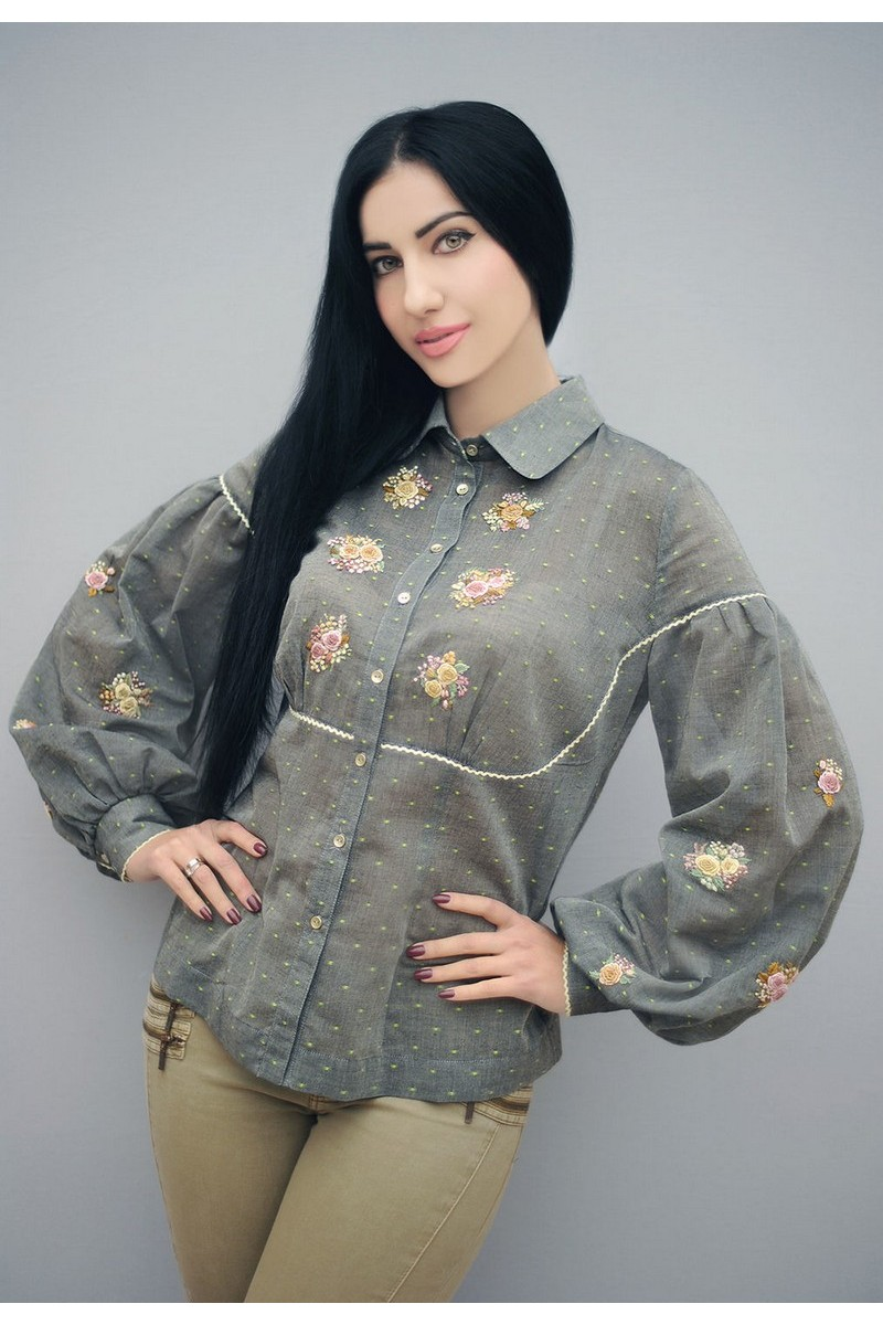 Buy Gray women comfortable blouse, cotton long sleeve blouse, hand embroidery clothes