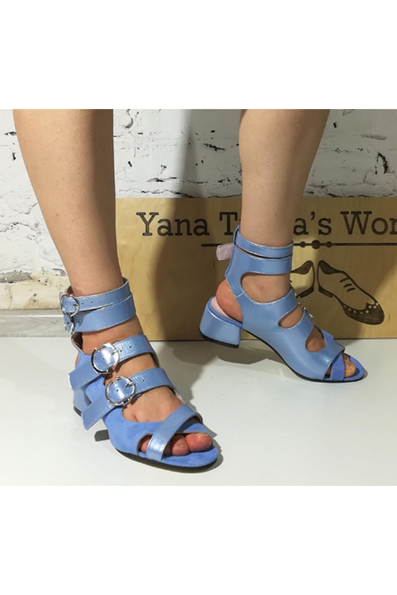 Buy Blue Women's Leather Suede Gladiators Heel Buckle open toe sandals, Designer shoes