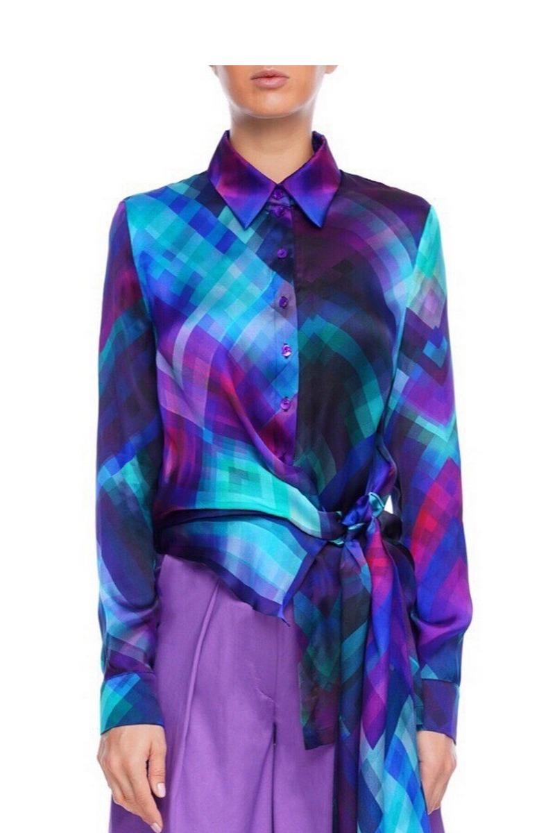 Buy Asymmetric front closure silk blouse, Blue long sleeve buttons women unique design blouse