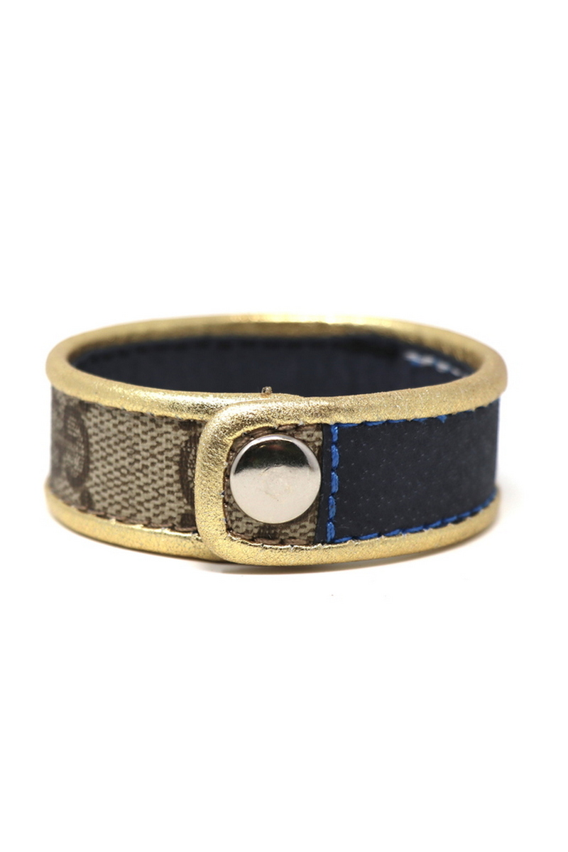 Buy Cuff Stitched Leather, Single Row Gucci Wristband/ Blue Stripe Gold Leather Bordering