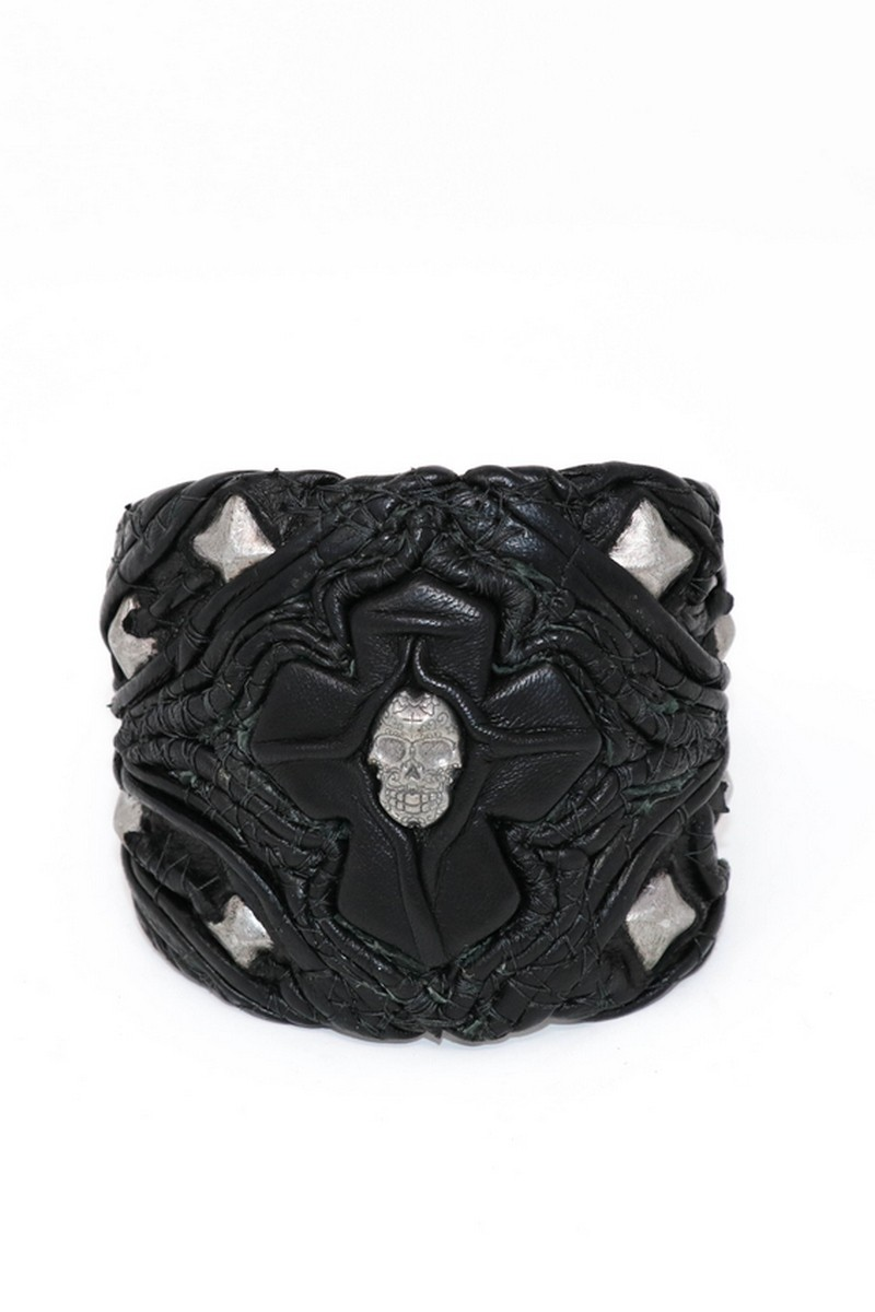 Buy Dark Black The Cross & The Face MetalMania Leather Wristband, Rock Punk bracelet