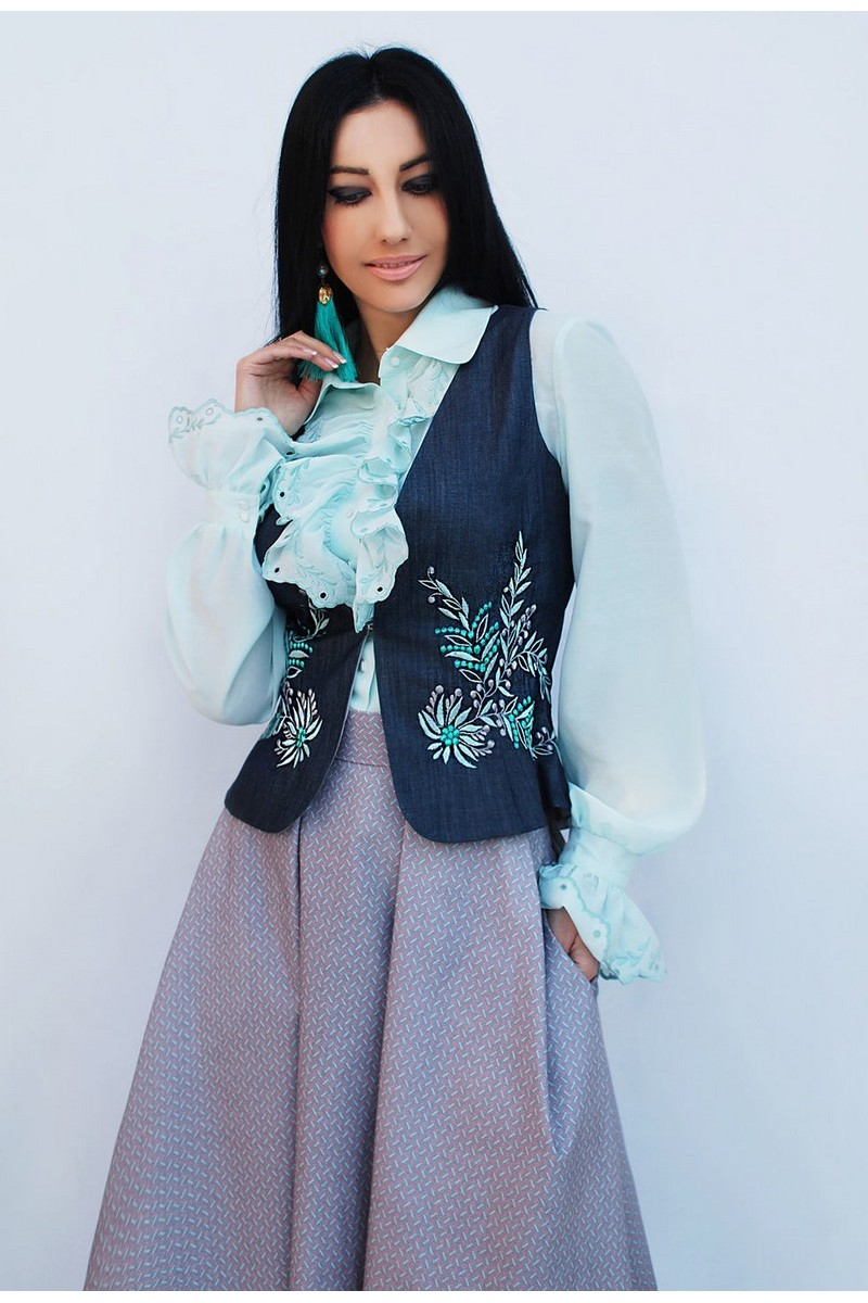 Buy Elegant Exclusive Women Suit Designer Unique Floral Embroidery Skirt Frill Blouse Denim Vest