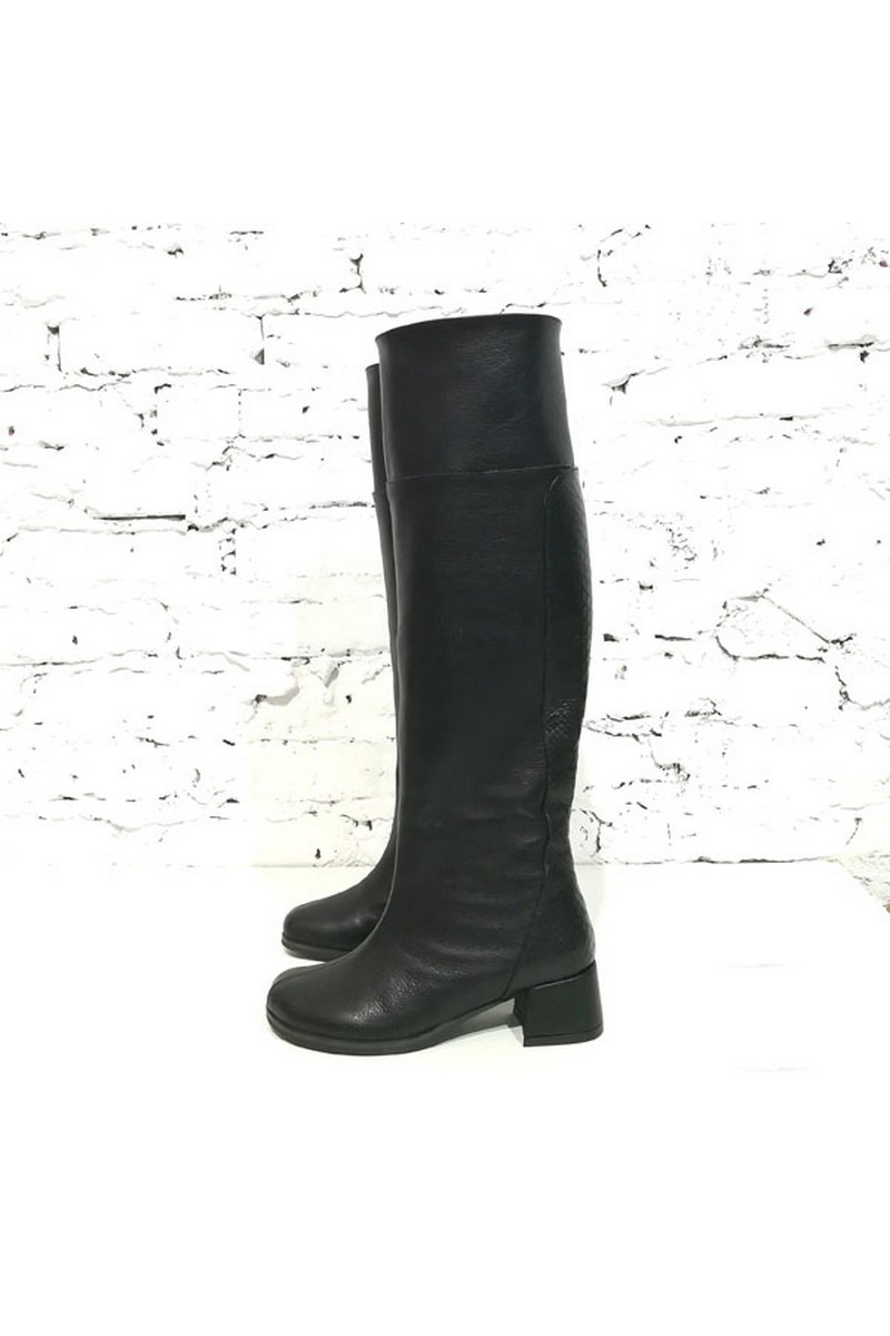 Buy Heel tall women`s leather black designer stylish comfortable boots