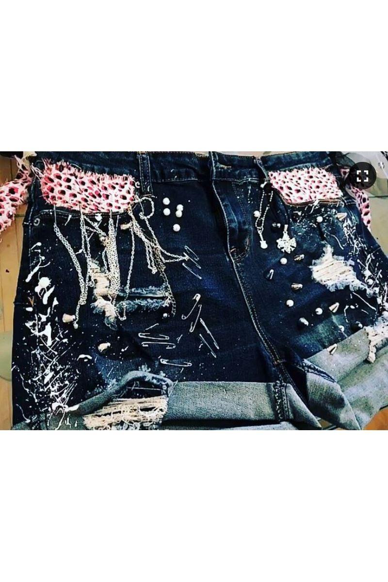 Buy Handmade jeans punk rock rocknroll shirts, blue denim women short shorts