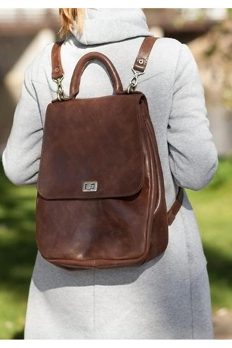 Buy Comfortable stylish women`s brown real leather big city bag backpack