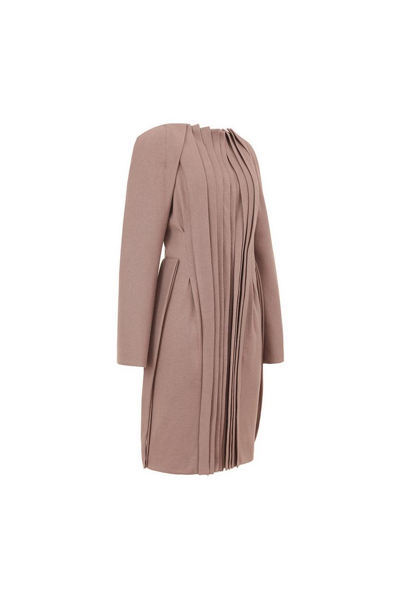 Buy Vintage style pink pleats elegant evening wool women coat