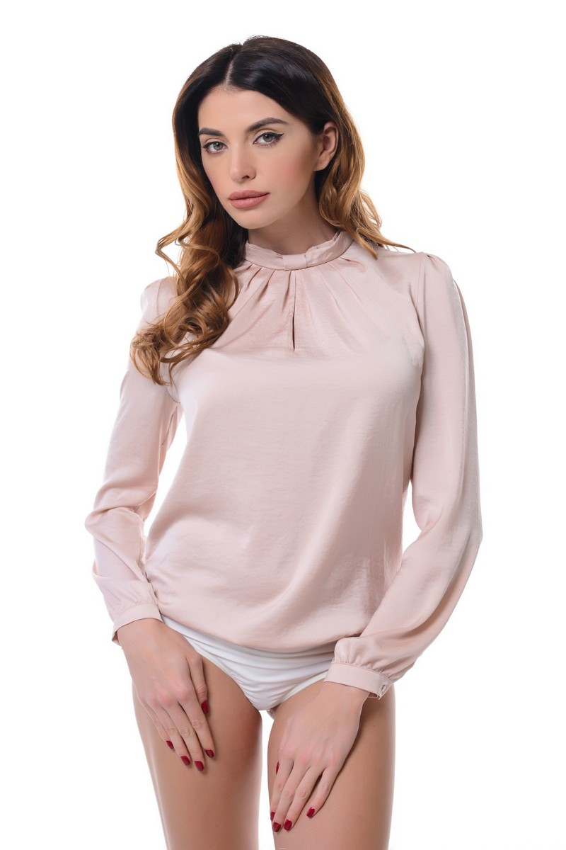 Buy Long sleeve comfortable elegant buttons pink polyester loose office business blouse body