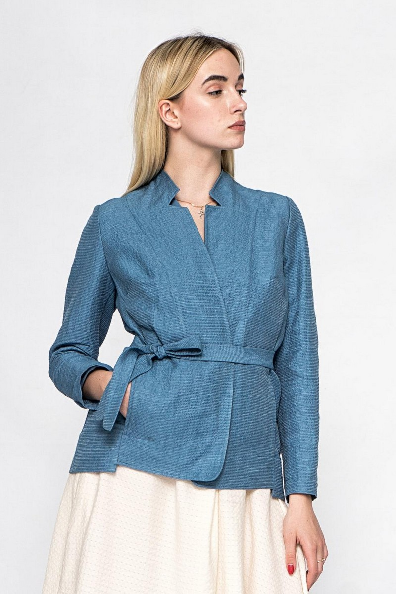 Buy Women`s blue cotton jacket, Long sleeve office jacket, Сomfortable casual ladies jacket