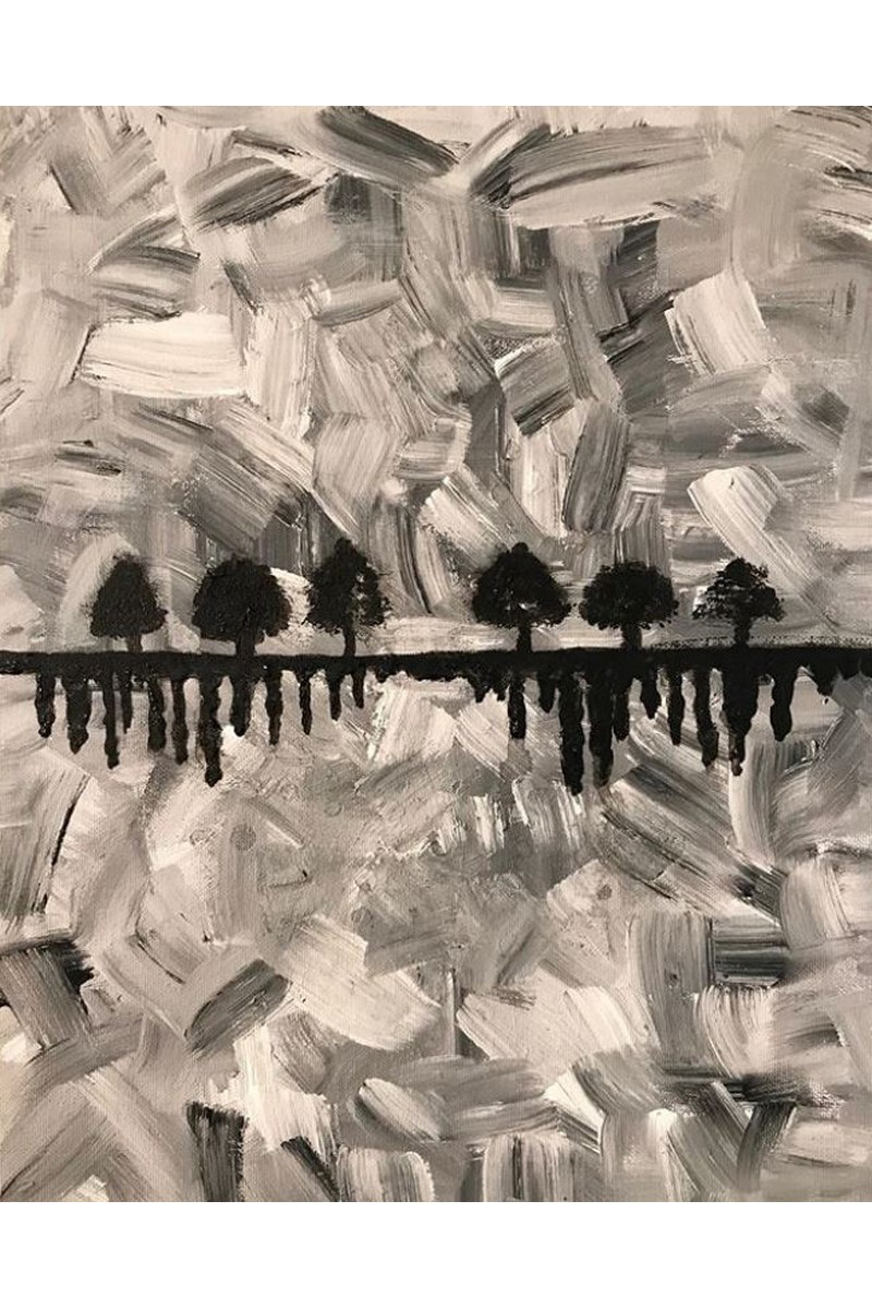 Buy Acrylic painting black & white Black Trees, Acrylic art big canvas, american modern art