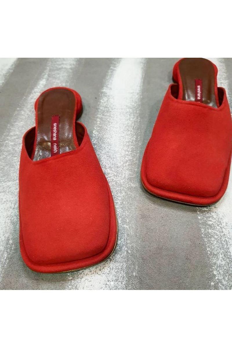 Buy Red clogs low heel square toe fashionstreet designer stylish handmade women shoes