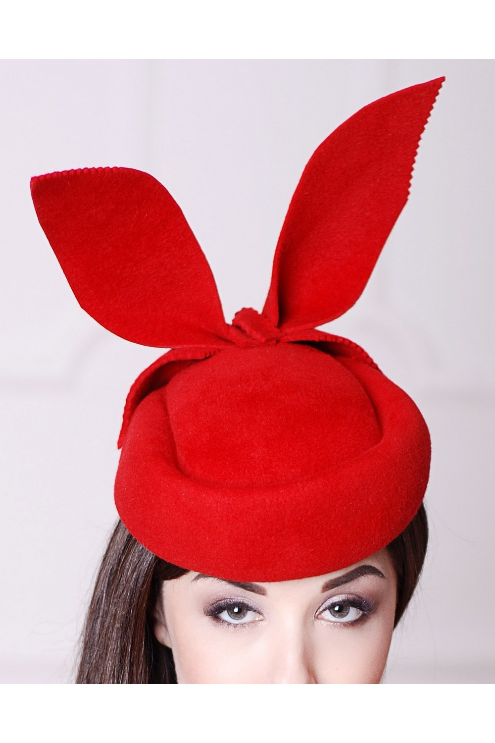 Buy Red felt women`s pillbox hat with bunny ears, Unique designer stylish hat
