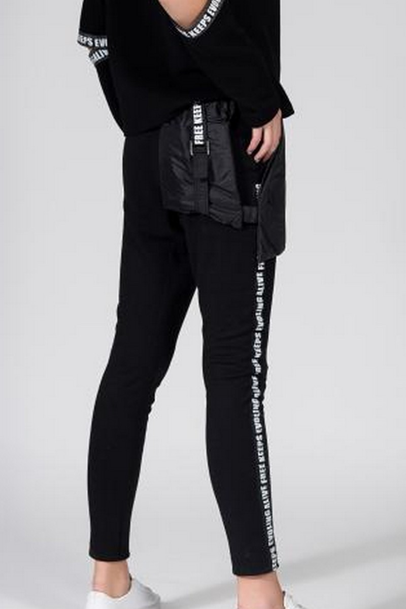 Buy Black knit women skinny trousers, creative original party pants