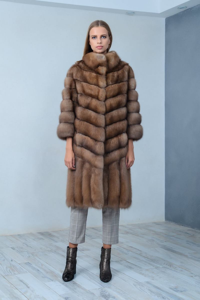 Buy Brown women fur marten coat