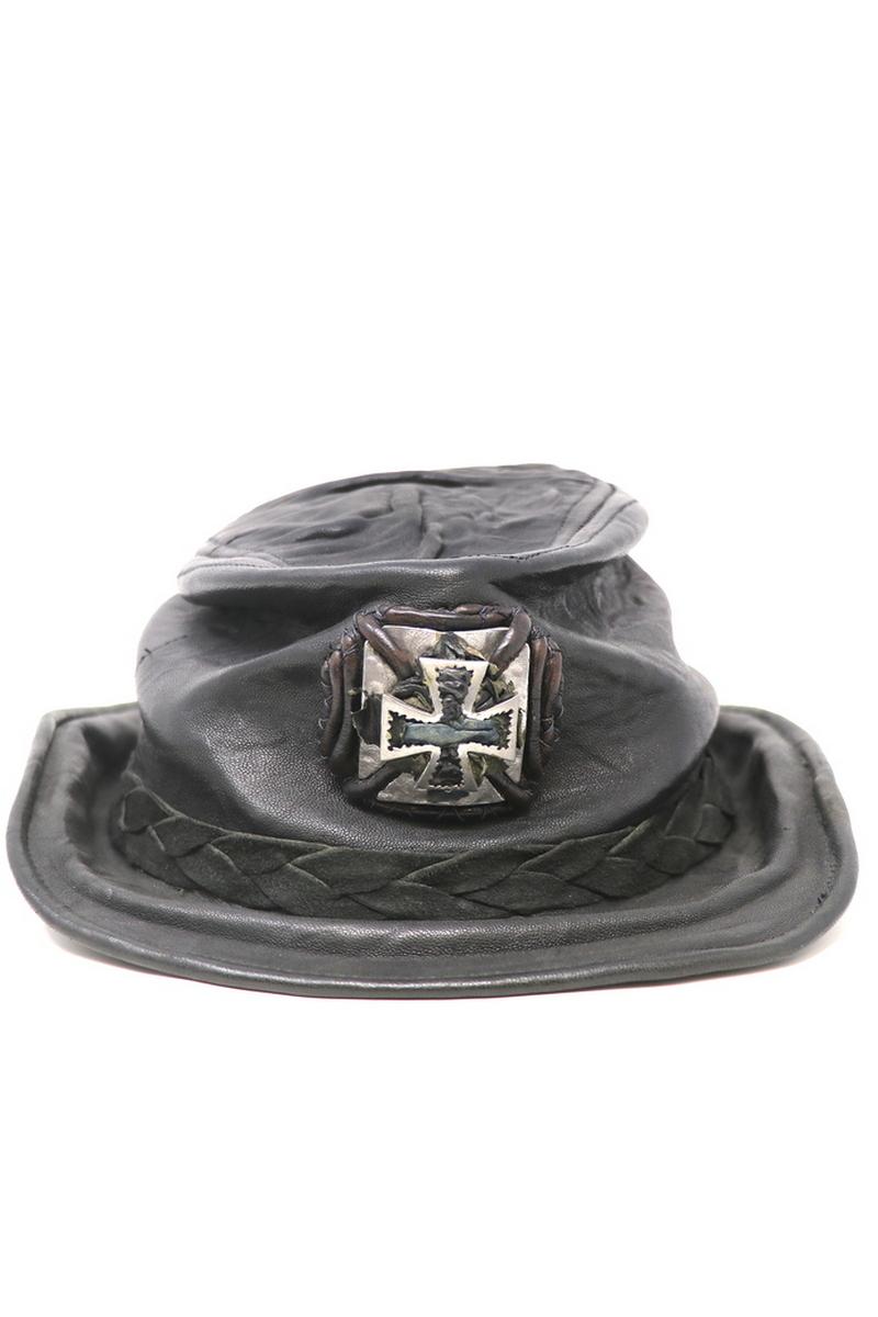 Buy RocknRoll Cross Hat, Black Leather Handmade Unique Designer Festival Party Hat