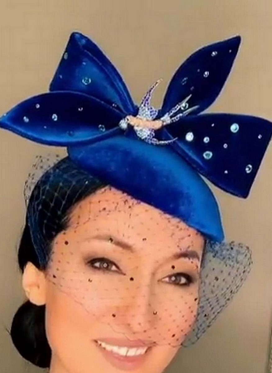 Buy Women's blue velvet veil hat stones swarovski brooch, Elegant Hat for Women Tea Party Headband Wedding Cocktail