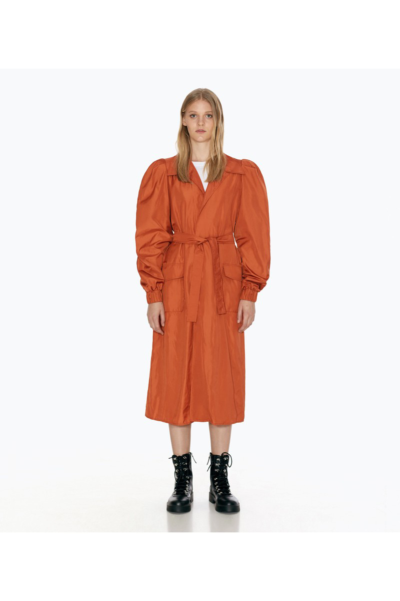 Buy Long terracotta casual women trench polyester loose coat