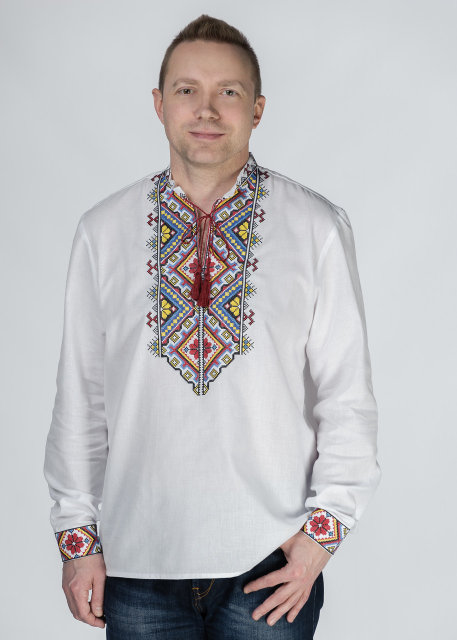 Buy Men's cotton shirt in the Ukrainian folk style, embroidery, boho vyshivanka