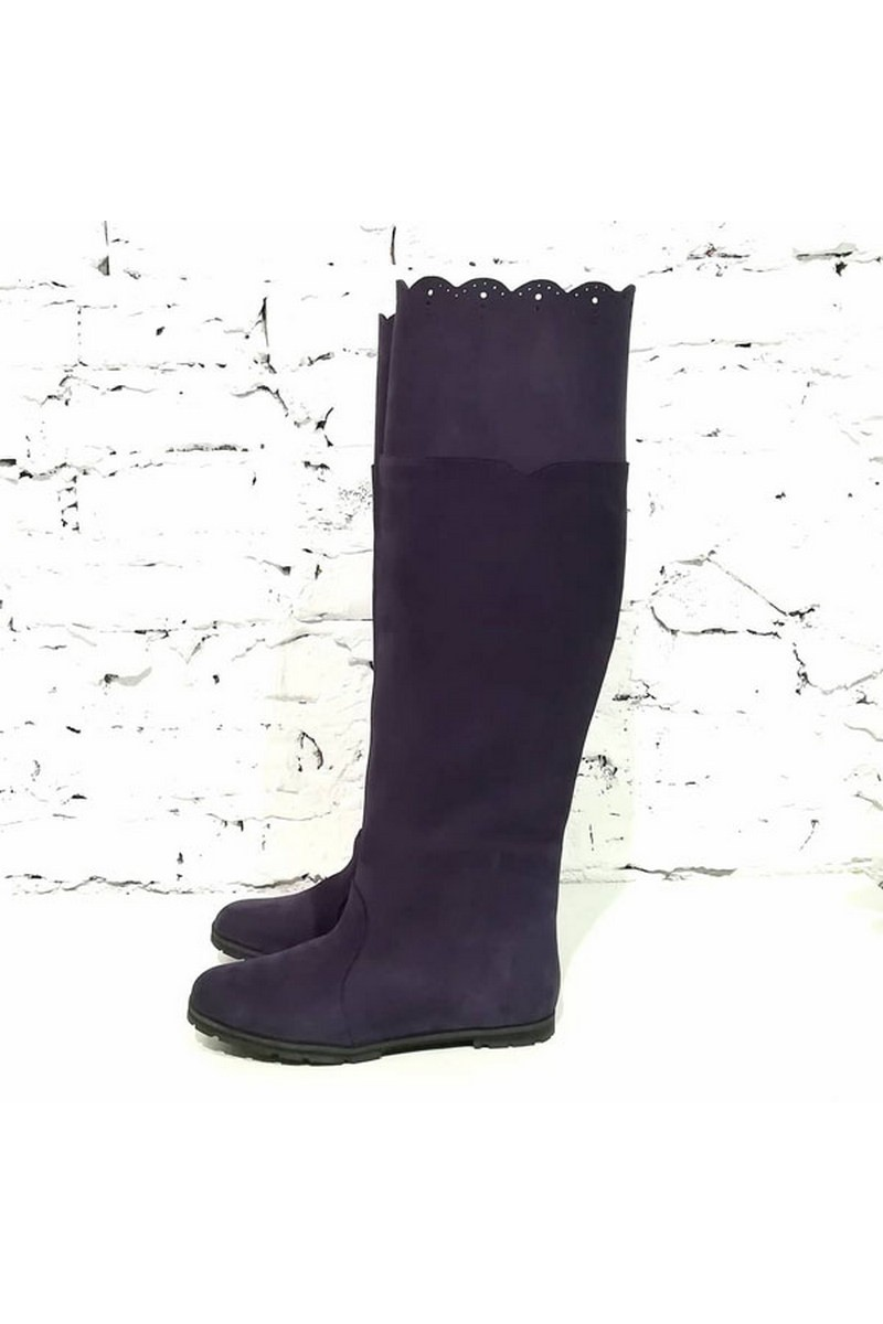 Buy Nubuck high women demi season stylish comfortable violet low sole boots