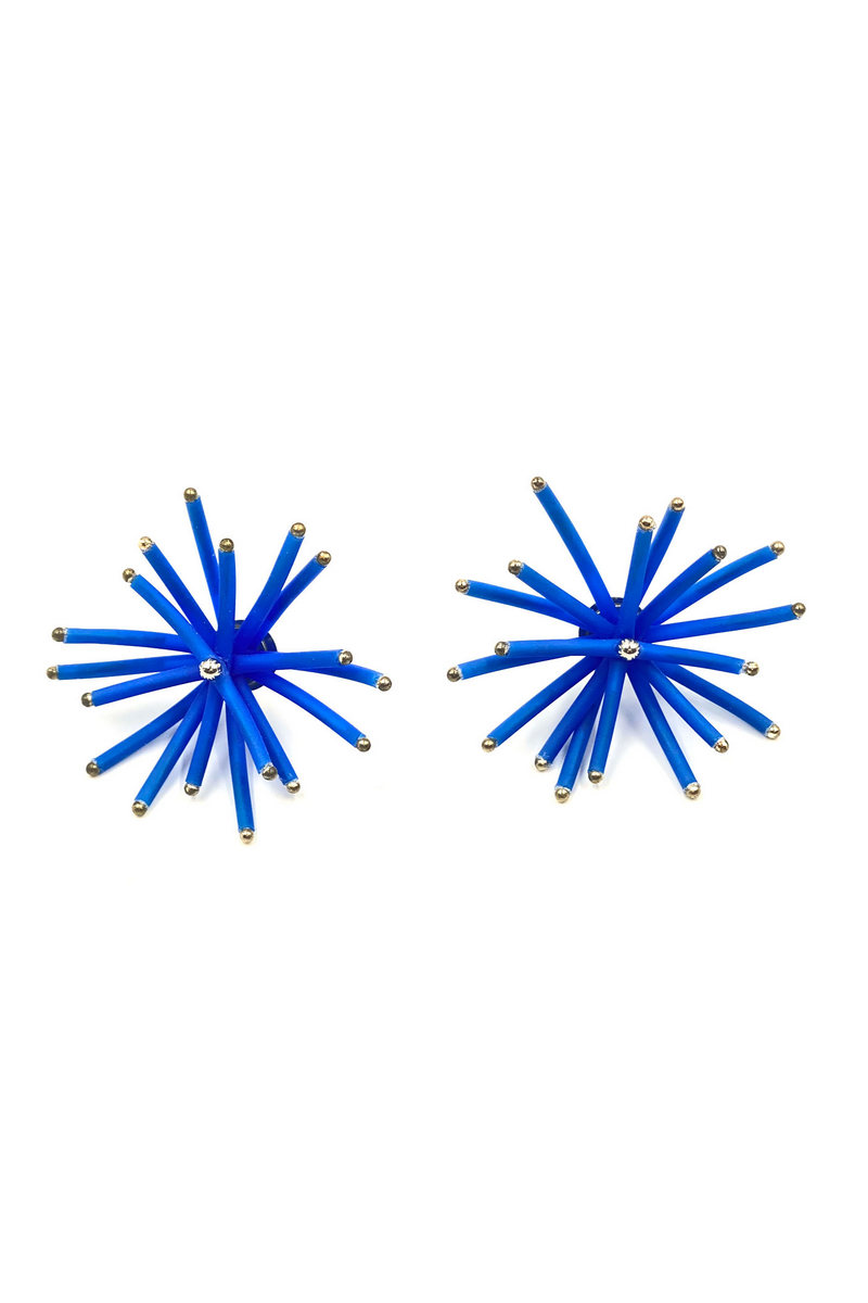 Buy Crafted curve rubber tube stainless steel stud 3D effect light-catching ball beads earrings