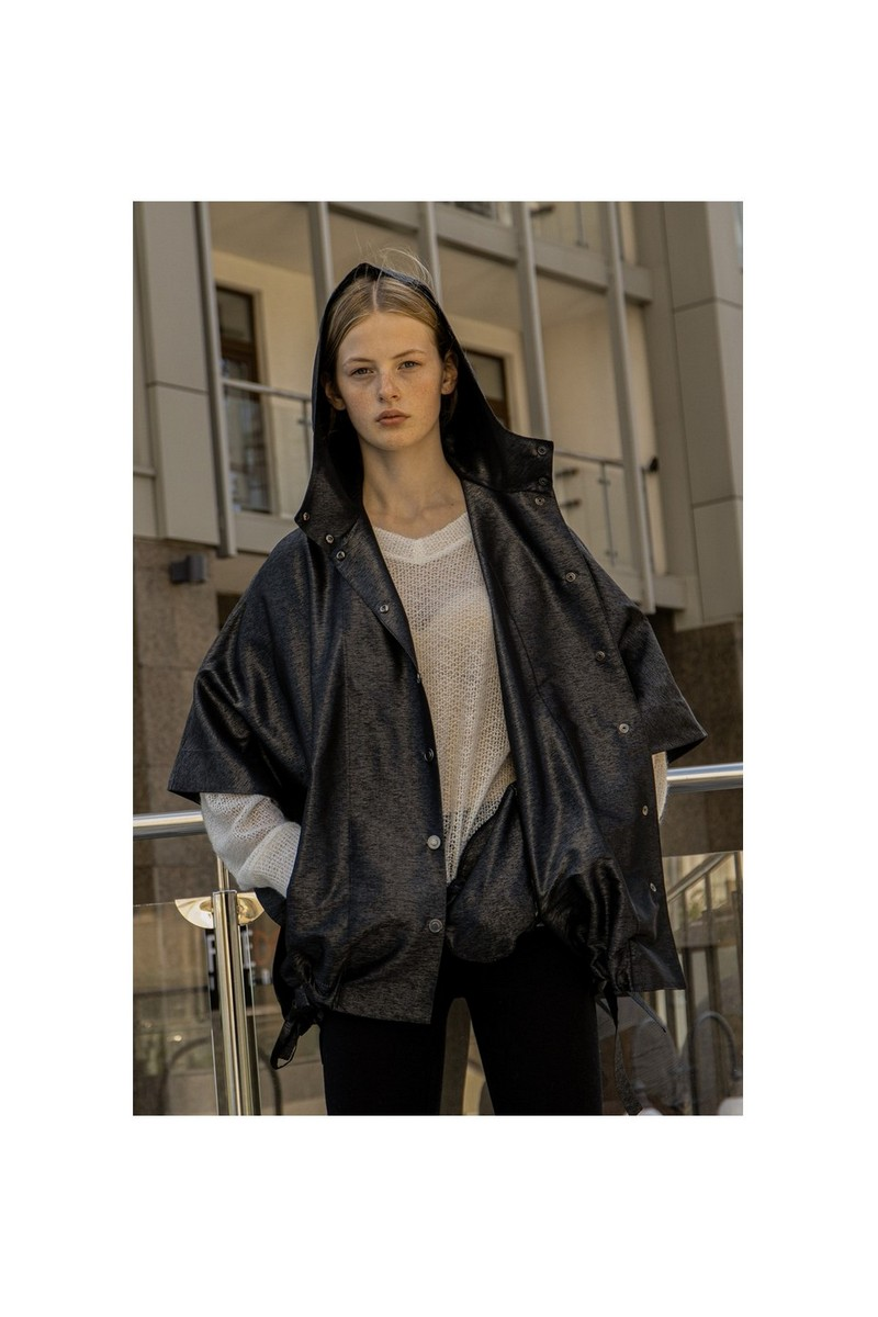 Buy Silk Loose Black Women Coat, short sleeve hood buttons pockets