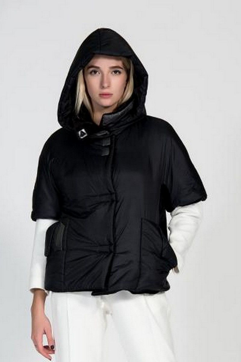 Buy Hooded jacket vest black women, Warm winterstylish comfortqble short coat