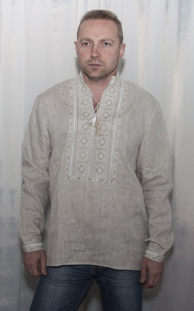 Buy Men's embroidered linen Ukrainian folk shirt, boho vyshivanka