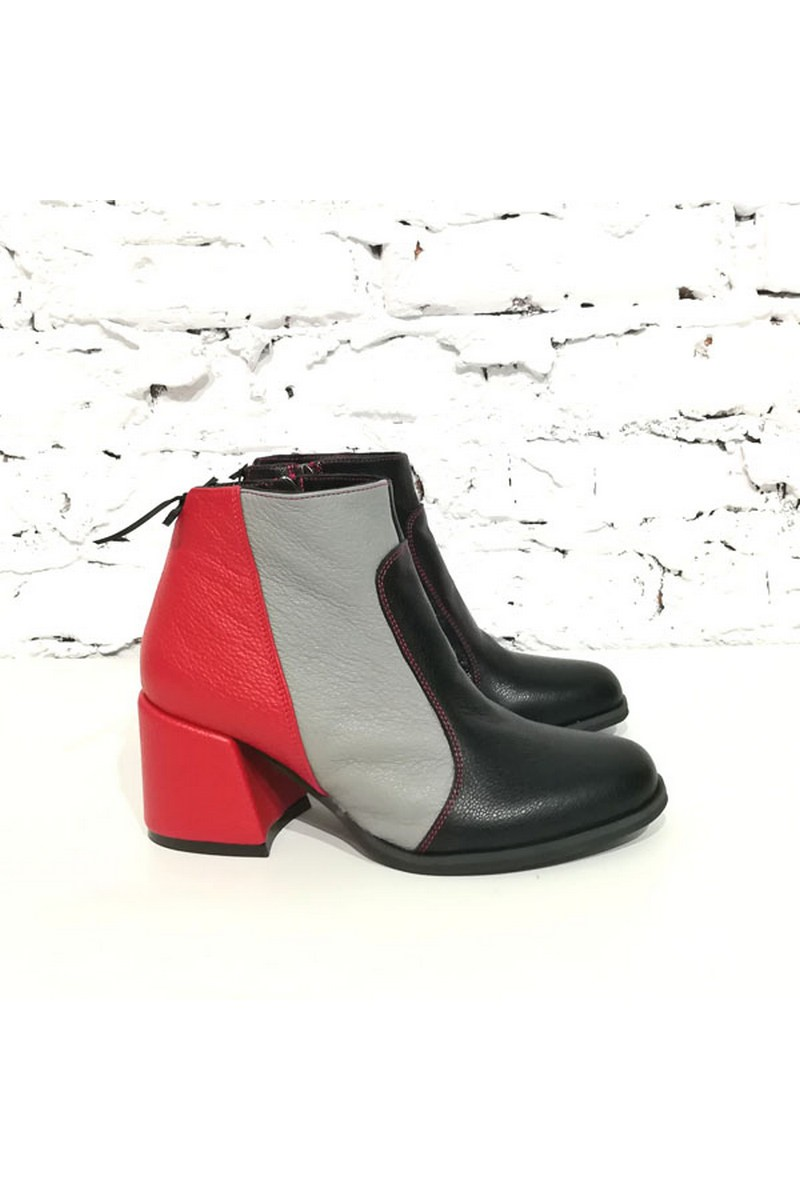 Buy Original stylish leather women`s black red grey round toe zipper boots