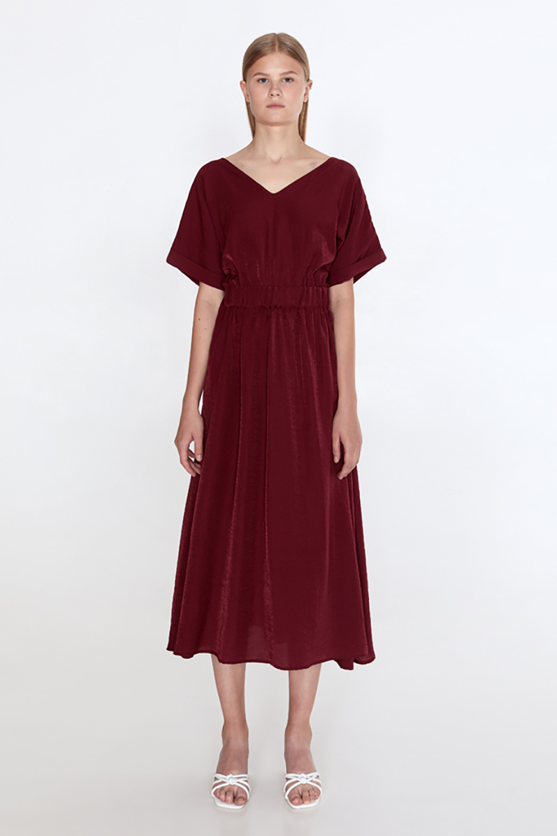 Buy Linen midi burgundy short sleeve open back elegant party dress