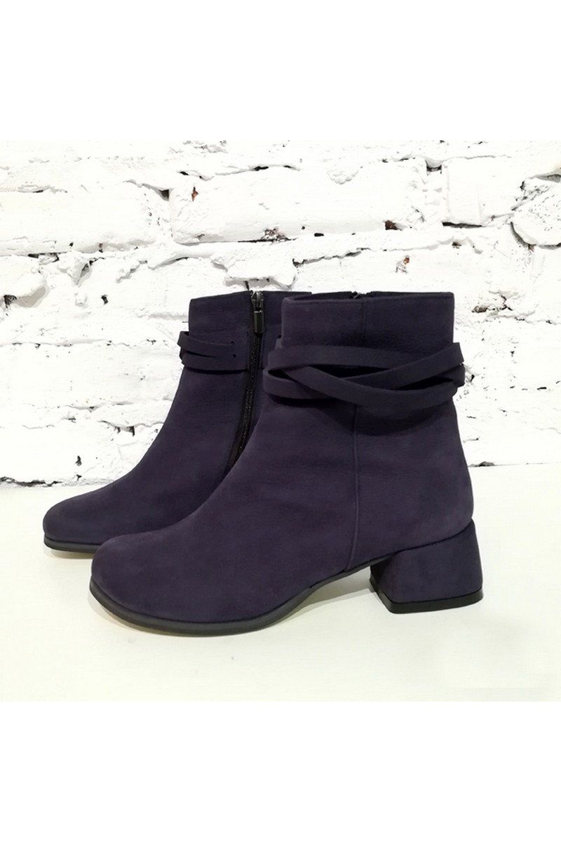 Buy Real nubuck women`s violet comfortable warmed zipper boots, Fall stylish boots
